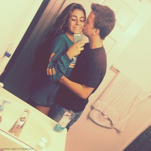 Couple selfie mirror Teen