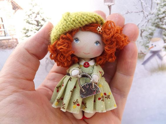 Cloth art OOAK cute mini dollhouse miniature doll accessory