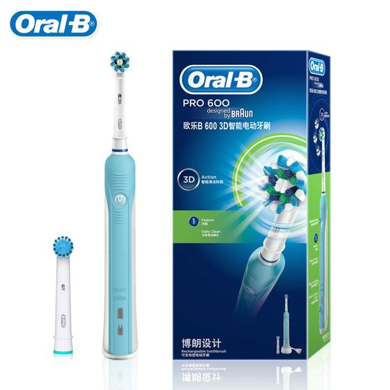 Braun Oral B Electric Toothbrush PRO600 D16523U Adult Teeth Whitening Rechargeable 1 Holder+2 Heads two colors