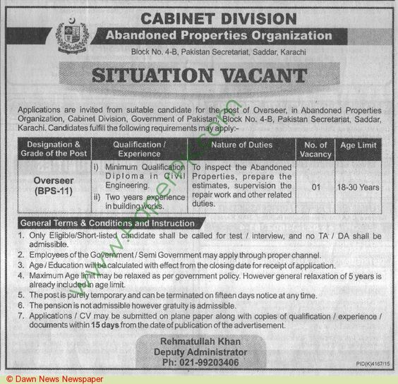 Cabinet Division Karachi Jobs For Overseer (BPS-11) 25-05-2016 | Government Jobs