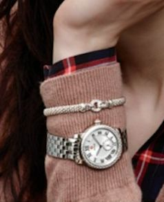 diamond bracelet paired with a Michele bracelet watch
