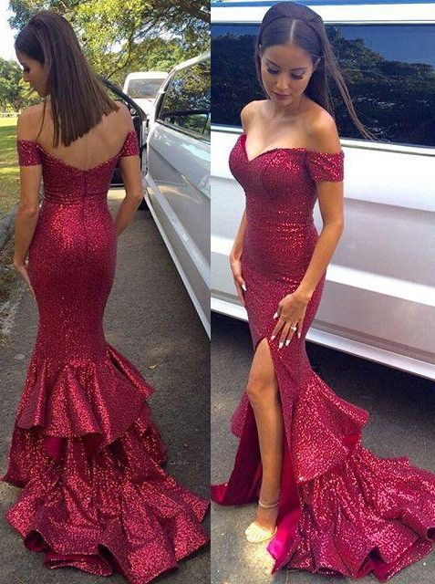 Sexy Off-the-shoulder Long Mermaid Sequined Prom Dress with Side ...