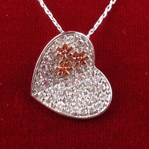 Vintage Exotic Sterling Silver Zircon Encrusted Heart Pendant Necklace BB1323|We combine shipping|No Question Refunds|Bid $60 for free shipping. Starting at $1