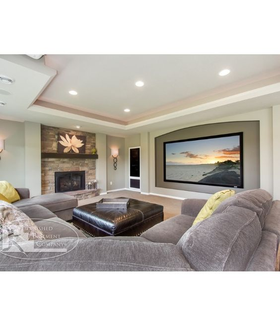 Grey Basement Ideas: Basement Ideas, Fireplaces And Gray Couches On Pinterest