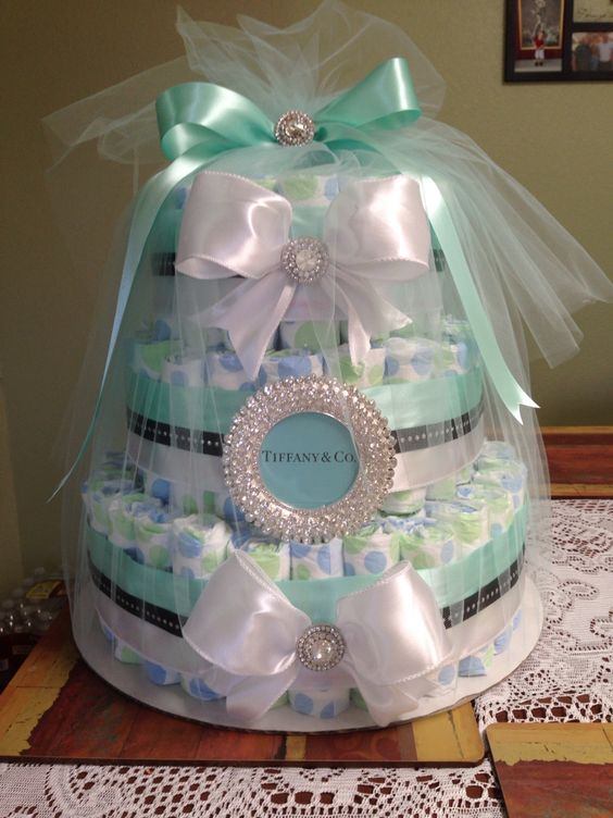 Tiffany And Co. Inspired Diaper Cake, Tiffany Blue Baby Shower (Diaper  Cake) | Cake | Pinterest | Tiffany Blue, Diapers And Tiffany