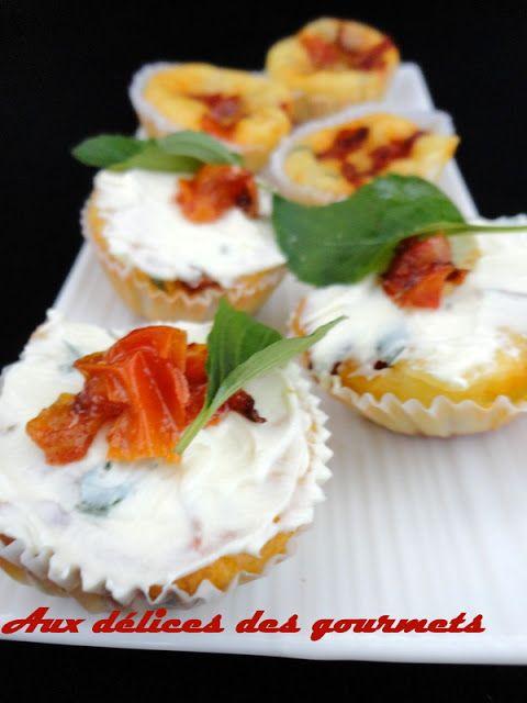 cupcakes tomates, mozzarella et basilic
