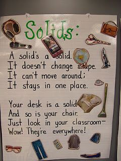 Matter - Solids, Liquids, Gases anchor charts (use velcro so kids can read poems and then put pictures in correct place)