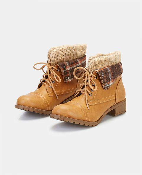 "<p>We are loving these ultra cute combat boots that show off a little tomboy edge. They feature a vegan leather upper, stylized stitching, a sweater fold-over cuff with a plaid print, button detail, and a lace-up front with metal eyelets.</p>  <ul> 	<li>5"" Shaft</li> 	<li>1.5"" Heel</li> 	<li>Lace-up Closure</li> 	<li>Lightly Padded Footbed</li> 	<li>Tread Sole</li> 	<li>Man Made Materials / Metal</li> 	<li>Imported</li> </ul>"