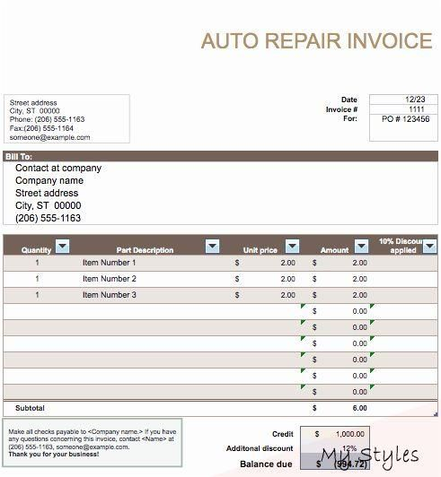 Automotive Repair Invoice Templates Elegant Auto Repair Invoice Template Word Auto Repair In 2020 Invoice Template Word Invoice Template Invoicing Software