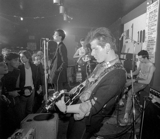 -Siouxsie and The Banshees first gig- Siouxsie Sioux (front)  Steven Severin (bass)  Marco Pirroni (guitar)  Sid Vicious (drums)  London © 20 September 1976