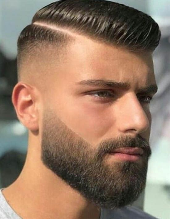 Faux Hawk Fade with Part and Beard - Fohawk Haircuts