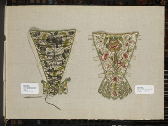 Stomachers from the Victoria & Albert Museum. Floral design embroidered with colored silks and metal thread on a silk ground, made in England, 1700-1725