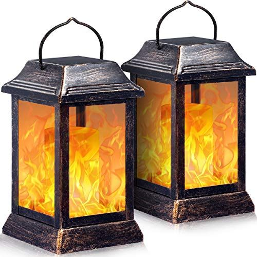 Tomcare Solar Lights Metal Flickering Flame Solar Lantern Outdoor Hanging Lanterns Lighting Heavy Outdoor Hanging Lanterns Solar Lights Hanging Lantern Lights