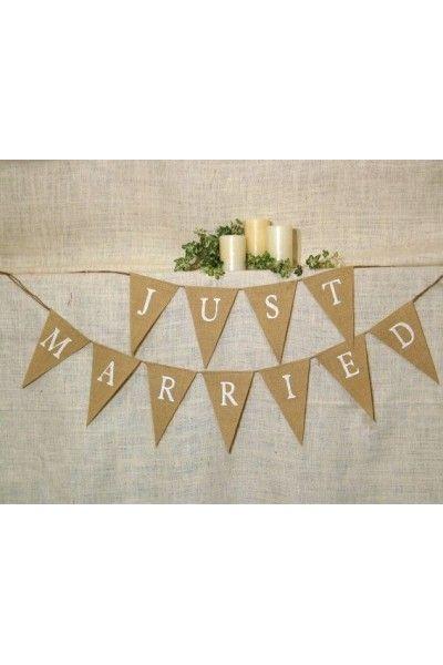 """Banderole de Fanions Toile de Jute """"Just Married"""" pour un mariage chic, Champêtre, vintage , Romantique et rétro -"""