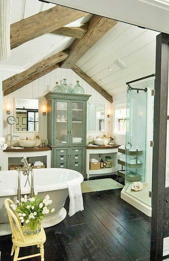 Cottage | Farmhouse | Bathroom | Wood Beam | Ceiling | White Plank Walls | Clawfoot Tub: