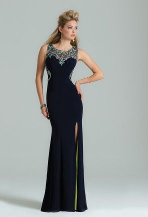 Jersey Beaded Dress with Illusion Back - Jersey dresses- Illusion ...