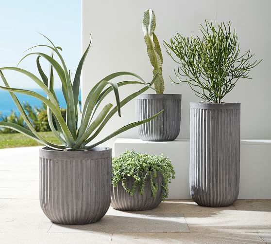 Concrete Fluted Planter Grey In 2021 Outdoor Planters Patio Planters Pottery Planters