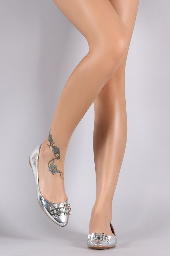 Studded Bow Patent Ballet Flat