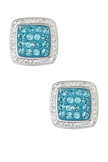 Sterling Silver Micro Pave Aqua Crystal Square Stud Earrings by Stylish Studs: Earring Event on @HauteLook