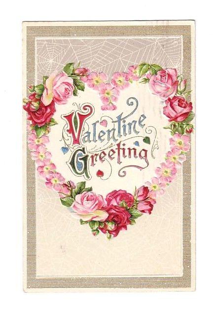 Vintage Postcard Valentine Greeting Heart's with Rose's (Vintage Postcards Valentines) at Whimzy Treasures: