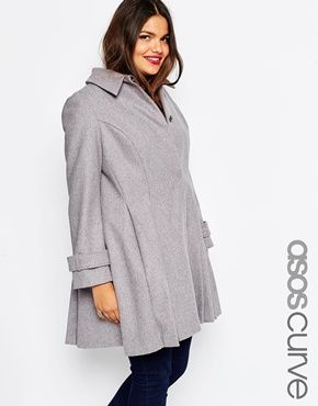 ASOS CURVE - Dolly - Manteau coupe patineuse