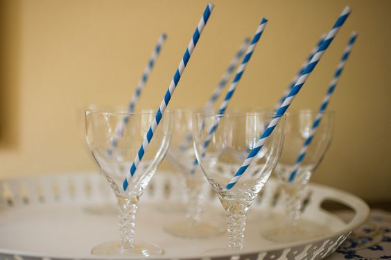 Champagne glasses, paper straws #weddings