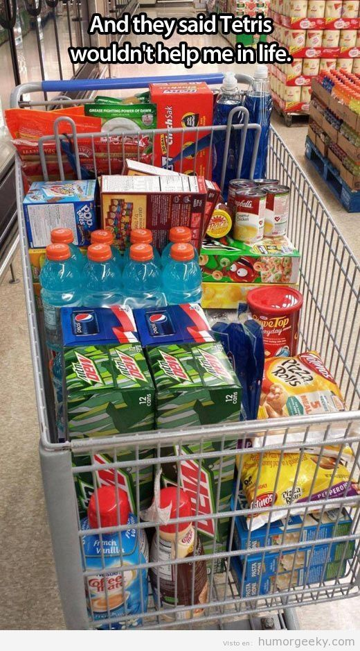 Geek Humor Playing Tetris with a grocery cart | From Humor Geeky