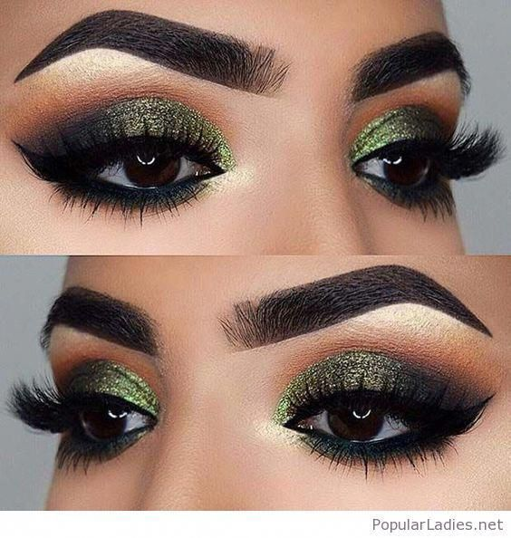 Green Eye Makeup For Brown Eyes Browneyemakeup Makeuptutorialforbrowneyes Glittery Eye Makeup Makeup For Green Eyes Fall Makeup Looks