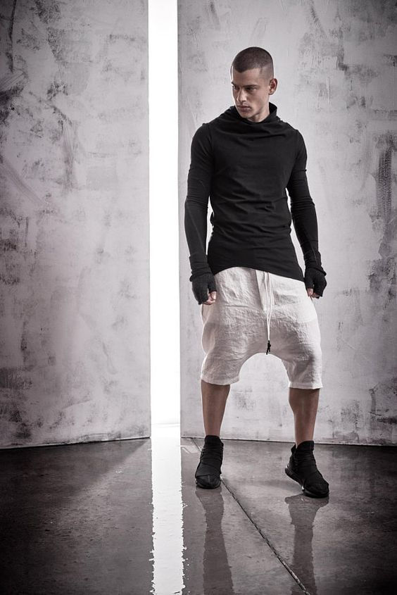 Off-White Boiled Linen Shorts / Mens Drop Crotch Trousers /