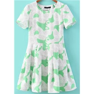 Green Short Sleeve Print Pleated Dress | pariscoming
