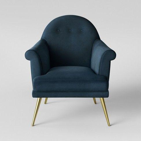 Magnificent Myna Tufted Velvet Arm Chair With Brass Legs Opalhouse Machost Co Dining Chair Design Ideas Machostcouk