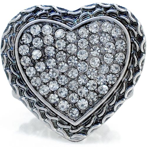 Valentine's Day Crystal  Heart Vintage Style Stretch Ring