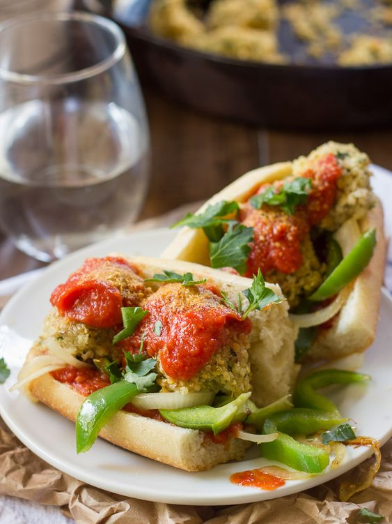 Quinoa Meatball Sub with Grilled Peppers + Onions: