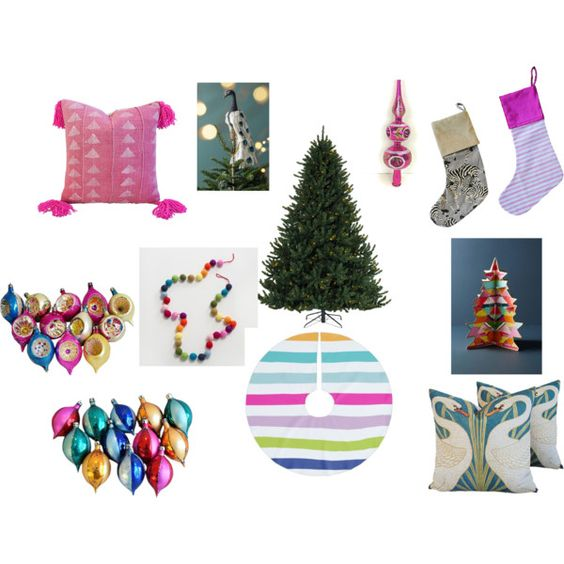 Colorful Christmas by sissy-mebane-schoettelkotte on Polyvore featuring interior, interiors, interior design, home, home decor and interior decorating