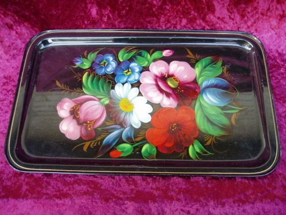 STRONG METAL FLORAL ART TRAY FROM RUSSIA 405 X 245mm in Folk Art | eBay