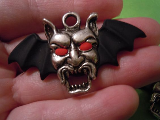 Winged Devil Pendant Necklace Dracula Necklace by laminartz
