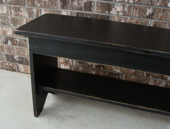Shabby Farm Cottage Black Wood Bench Storage Coffee Table