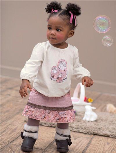 Vertbaudet Mädchen-Set aus Shirt und Rock mit Leggings