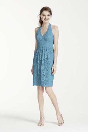 This feminine lacedress exudes timeless beauty andclassic charm!  Halter all over lace bodicehasa definedwaist that helps create a stunning silhouette.  Scalloped lace hem that hits right above the knee.  Fully lined. Back zip. 52% Nylon/48% Rayon. Dry clean only.  Also available in Extra Length as Style 2XLF15623.  Sizes and colors are available in limited stores and with limited availability. To protect your dress, try our Non Woven Garment Bag.