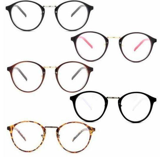 Nerd Geek Glasses Eyeglasses Vintage Men Women Clear Lens Eyewear Plastic Round Frames