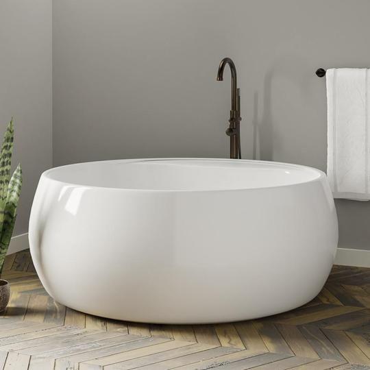 61 Tipton Acrylic Round Soaking Freestanding Tub Bathtub Bathroom Homeimprovement Renovation Remodel In Free Standing Tub Bathroom Design Small Bathtub