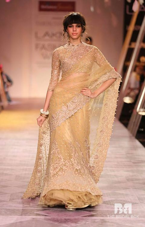 Golden Embroidered Net saree for bridal