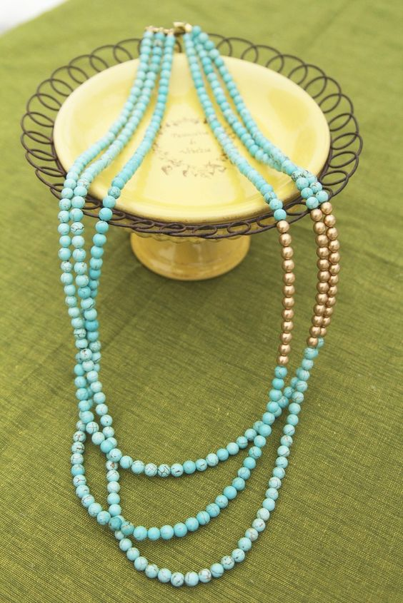 K.amato Long Layered Turquoise and Gold Beads