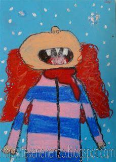 Benodigdheden: blauw knutselpapier oliepastel krijtjes fiberfill Het sneeuwt! Kijk omhoog en probeer met je tong sneeuwvlokjes te vangen! Hoe ziet je gezicht er uit als je omhoog kijkt? Teken een kind in een vrolijke wintertrui. Kleur dit stevig in met oliepastelkrijtjes.  Omlijn met zwart. Plak een stukje fiberfill op de tong, en vergeet niet de sneeuwvlokken te tekenen.