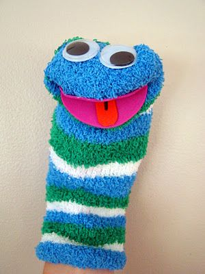 making sock puppets to go with the book, Diary of a Worm
