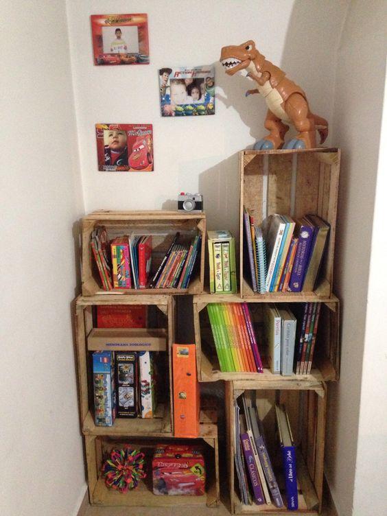 Mueble reciclado librero bibliotecas pinterest for Mueble zapatero esquinero