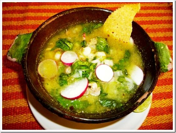 Green pozole soup guerrero style green pozole style and for Traditional mexican kitchen