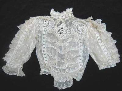 ANTIQUE VICTORIAN EDWARDIAN LADIES BLOUSE WITH NETTING, LACE, BACK BUTTONS ETC.
