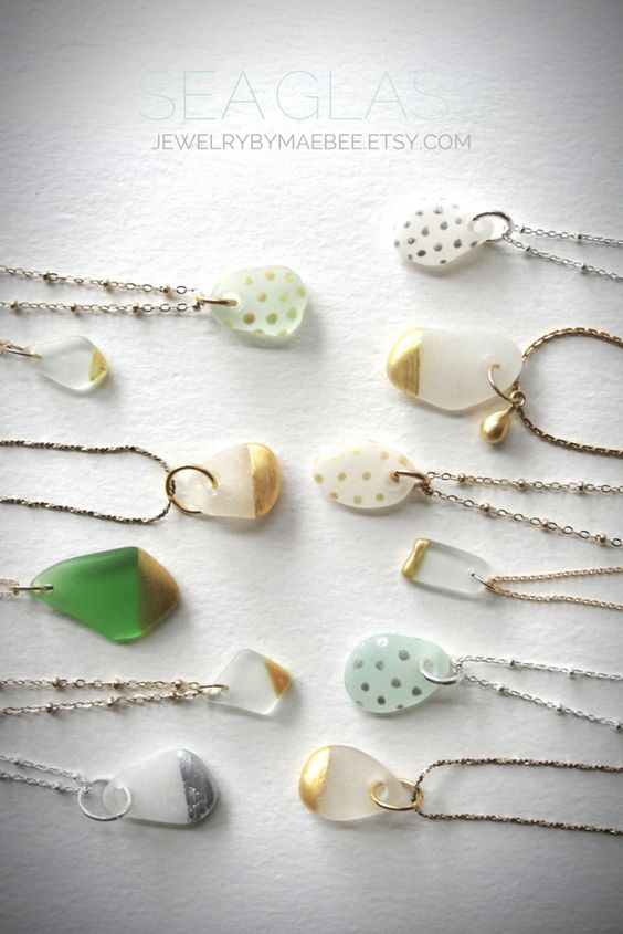 Gold-dipped Seaglass necklaces! www.jewelrybymaebee.etsy.com