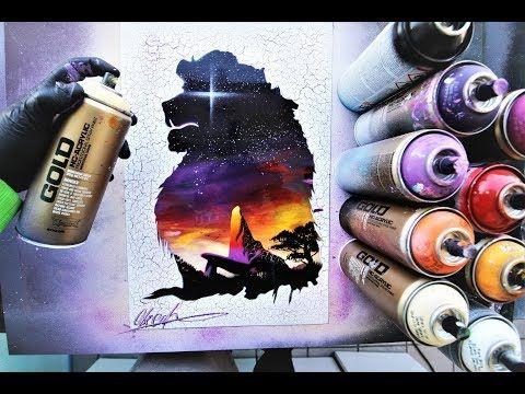 The Lion King Spray Paint Art By Skech Youtube Galaxy Spray Paint Lion King Art Spray Paint Art